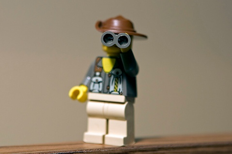 Lego man with binoculars, by parl on flickr.com