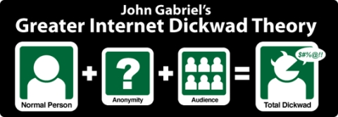 normal person plus anonymity plus audience equals total dickwad