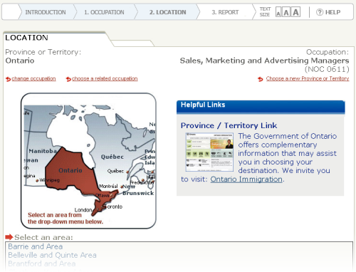 "Screen grab of the Working in Canada Tool interface at the ""choose location"" step"