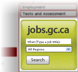 screen capture of the jobs.gc.ca search widget