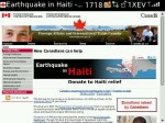 Landing page for the Haitit relief campaign at international.gc.ca, as rendered on Blackberry