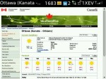The forecast for Ottawa from weatheroffice.gc.ca, as rendered on Blackberry